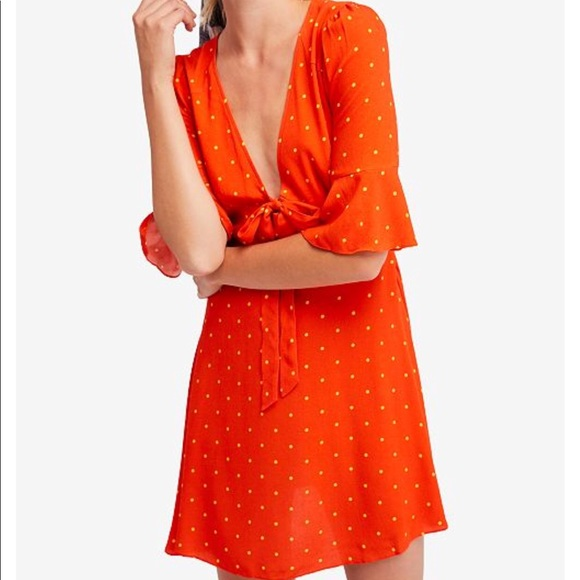 94a3a2287 Free People Polka Dots And A Center Bow Mini Dress